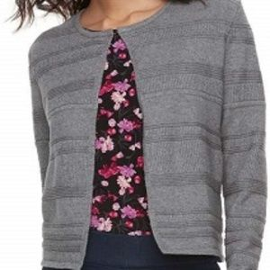 Elle Gray Open Front Rolled Cuff Cardigan Sweater